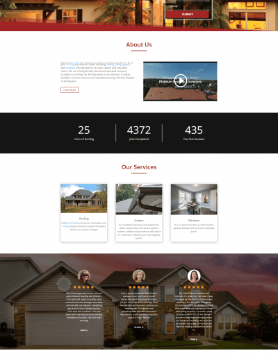 Platinum Roofing & Exteriors Website Screenshot